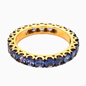 2.24K Brilliant Cut Natural Blue Sapphire & 18K Gold Eternity Band Ring from Berca