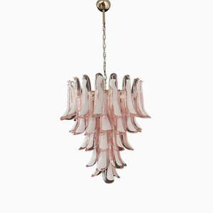 Vintage Italian Murano Glass Chandelier with 52 Petals in the Style of Mazzega