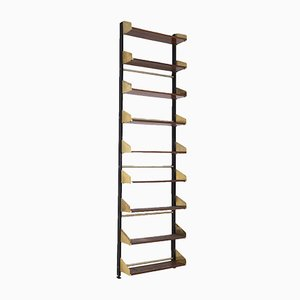 Vintage Italian Bookcase in Wood and Brass from Feal