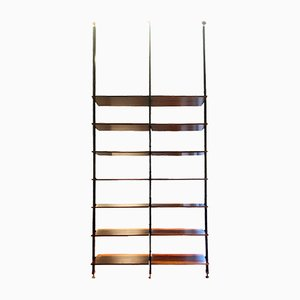 Mid-Century Solid Wood and Metal Ceiling Bookcase with Brass Tips, 1950s