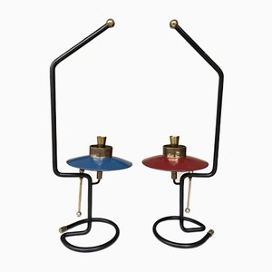 Mid-Century Italian Candleholders in Lacquered Metal and Brass, 1950s, Set of 2