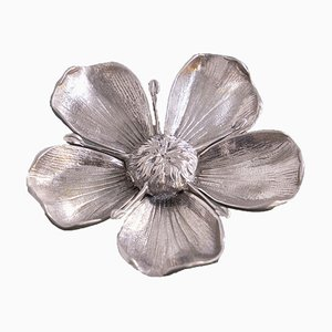 Signed Vintage Flower Ashtray in Silver Metal from Gucci