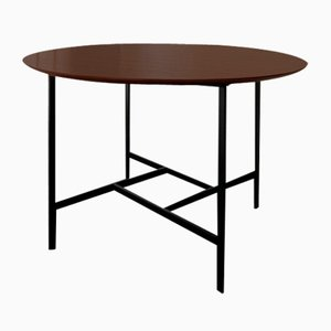 Round Table with Teak Top and Metal Base, 1960s