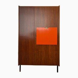 Teak Wardrobe with Vanity Flap & Mirror, 1960s