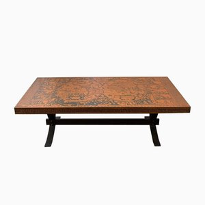 Coffee Table in Metal and Wood with Engraved Atlas, 1960s