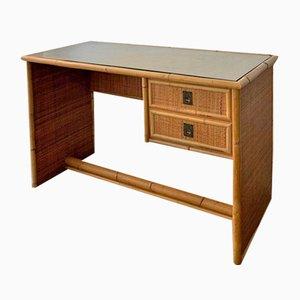 Desk in Wicker with Glass Shelf, 1960s