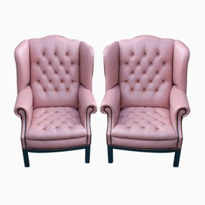 Lilac Leather Wingback Armchairs, Set of 2