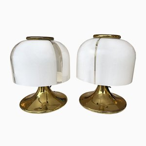 Small Italian Mushroom Lamps in Brass and Murano Glass by F. Fabbian, 1970s, Set of 2