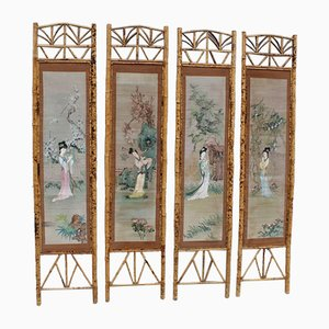 Decorative Panels in Bamboo with Geisha Design, Italy, 1940s, Set of 4
