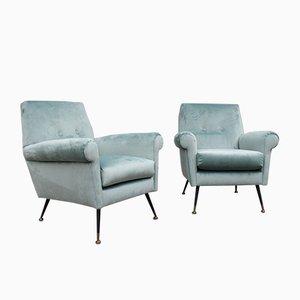 Armchairs in Green Velvet by Gigi Radice for Minotti, 1950s, Set of 2