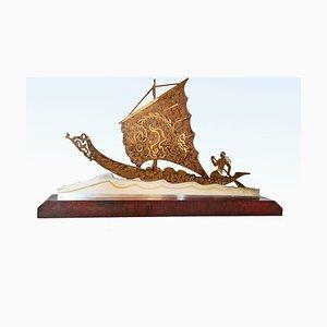 Art Deco Brass Boat Sculpture by L. Gerfaux