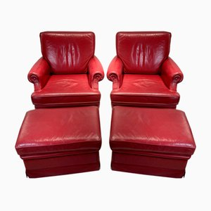 Red Leather Armchairs with Ottomans, 1960s, Set of 4