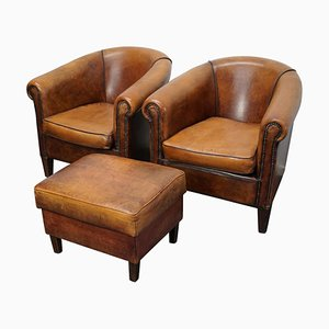 Vintage Dutch Cognac Leather Club Chairs with Footstool, Set of 3