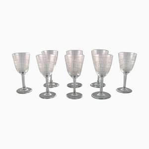 French Art Deco Cavour White Wine Glasses in Crystal Glass, Set of 8