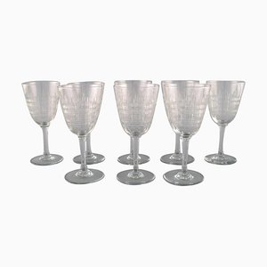 French Art Deco Cavour Red Wine Glasses, 1920s, Set of 8