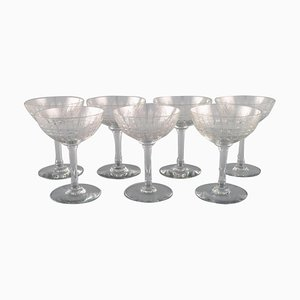 French Art Deco Cavour Champagne Glasses, Set of 7