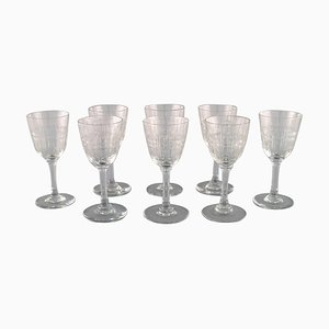 French Art Deco Cavour Liqueur Glasses in Crystal Glass, Set of 8
