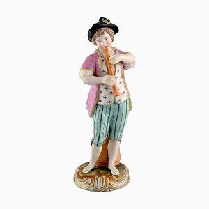 Antique Meissen Figure of Boy Playing Flute in Hand-Painted Porcelain, 1774-1814