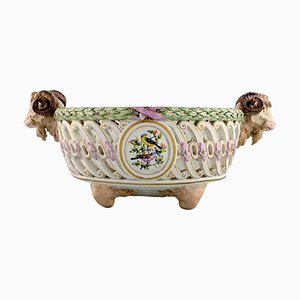 Antique Meissen Compote on Feet with Modelled Ram Heads in Openwork Porcelain