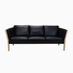 Mid-Century Danish 3 Seater Black Leather Sofa from Skippers