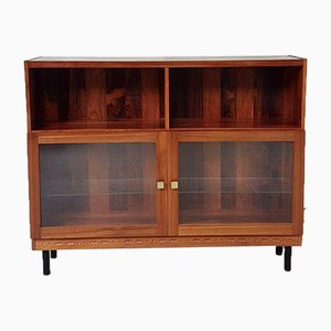 Mid-Century Rosewood Glass Wall Shelving Unit by Nils Jonsson for Troeds