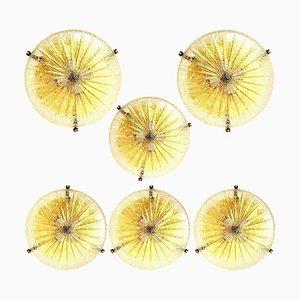 Thick Handmade Glass Brass Flush Mount or Wall Light, 1960s