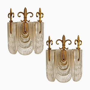Decorated Glass and Brass Wall Lights from Kaiser, 1970s, Germany, Set of 2