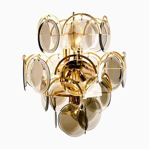 Smoked Glass and Brass Chandelier in the Style of Vistosi, Italy, 1970s