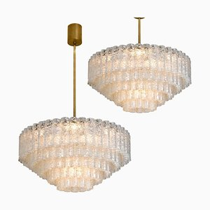 Ballroom Chandeliers with 130 Blown Glass Tubes, Set of 2