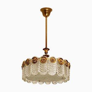 Brass & Glass Light Fixture from Kaiser Leuchten, 1960s