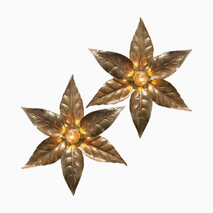 Willy Daro Style Brass Flowers Wall Lights from Massive Lighting, 1970, Set of 2