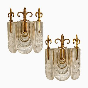 Glass and Brass Wall Lights from Kaiser, 1970s, Germany, Set of 2