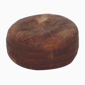 Mid-Century Dark Brown Patchwork Leather Ottoman