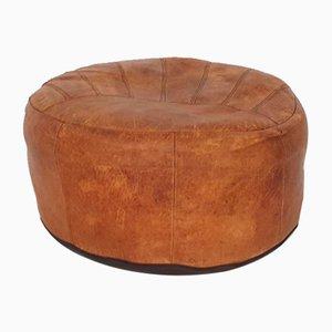 Cognac Leather Round Ottoman