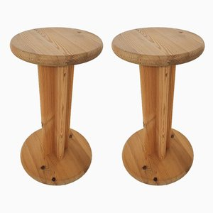 Pinewood Stools or Plant Stands by Aksel Kjersgaard, Denmark, 1970s, Set of 2
