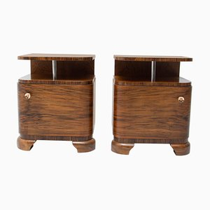 Art Deco Bedside Tables with Chrome Element, 1930s, Set of 2