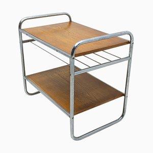 Bauhaus Chromed Side Table in Oak, 1930s