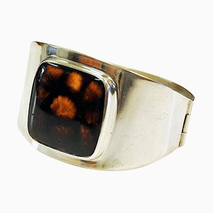 Swedish Silver Bracelet with Glass Stone by H.J. Weissenberg, 1963