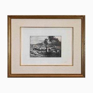 Unknown, Pasture, Original Etching, 1868