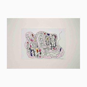 Maurizio Gracceva, Composition, Original Ink and Watercolor, 2010