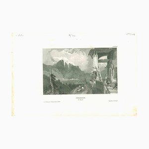 Unknown, Ancient View of Innsbruck, Original Lithograph on Paper, Mid-19th-Century