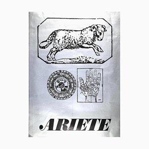 Sergio Barletta, Star Sign Aries, Original Screen Print, 1973
