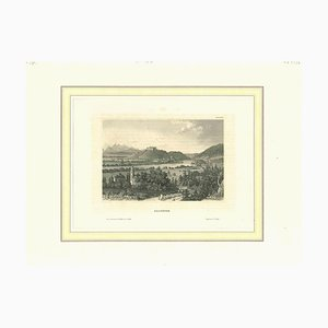 Unknown, Ancient View of Salzburg, Original Lithograph on Paper, Early 19th-Century