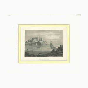 Unknown, Ancient View of Schloss Borgholm, Original Lithograph, Early 19th-Century