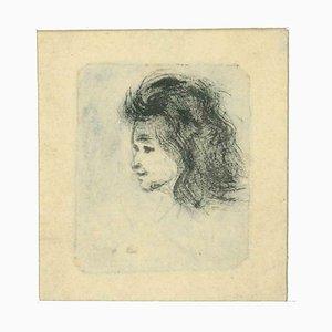 Albert Lepreux, Portrait, Original Etching, Early 20th-Century
