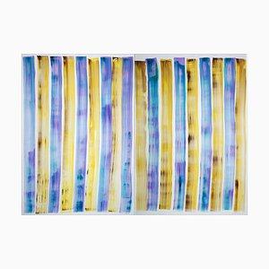Refreshing Gelato Grid, Vivid Tones Painting, Diptych, Cabin Beach, 2021
