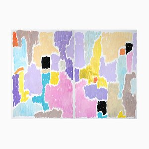 Abstract Blooming Flowers in Pastel Tones, Art Deco Painting Diptych, Paper, 2021