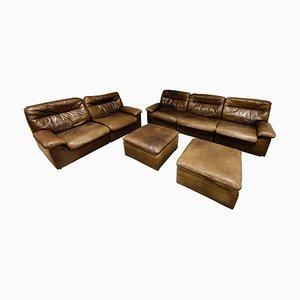Vintage Leather DS66 Sofa Set by De Sede, 1970s, Set of 4