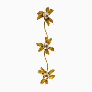 Brass Regency Flower Wall or Ceiling Light in the Style of Willy Daro, 1970s