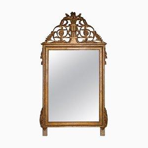 Regency Style Gold Foil Hand Carved Wooden Rectangular Mirror, 1970s